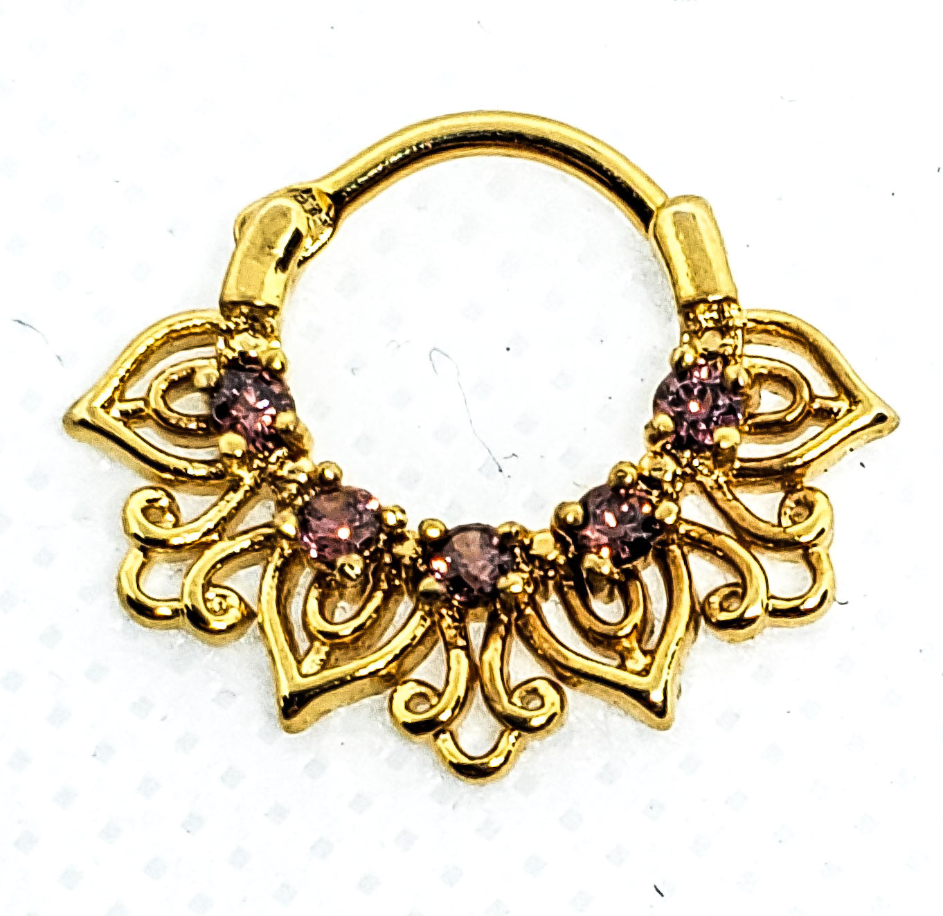 14K Gold Plated Septum Clicker With Amethyst