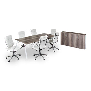 A-frame modern boardroom table set in wood melamine top with office chairs and server unit from Desk & Chair shop