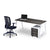 Rich brown single desk with white steel frame sold with mesh office chair from Desk & Chair shop
