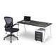 Rich brown single desk with white steel frame sold with mesh Manhattan office chair from Desk & Chair shop