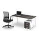 Rich brown single desk with white steel frame sold with ergonomic black chair from Desk & Chair shop