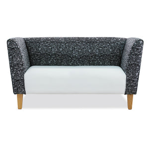 Adelaide office reception double seater lounge couch in pattern fabric and wooden legs from Desk & Chair shop