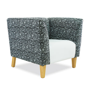 Adelaide office reception single seater lounge chair/couch in pattern fabric and wooden legs from Desk & Chair shop