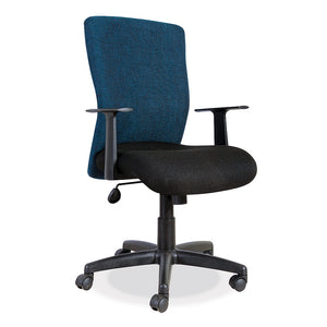 Athena operators mid back office chair in blue and black with gas lift and arms from Desk & Chair shop