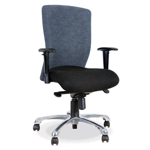 Athena operators mid back office chair in grey and black with synchro mechanism and chrome from Desk & Chair shop