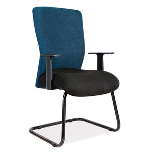 Athena office visitors chair in black and blue with arms from Desk & Chair shop