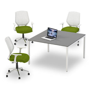 Barlow square meeting table with grey melamine top and white steel legs from Desk & Chair shop
