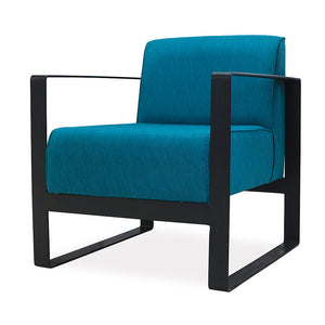 Modern Cairo office reception occasional lounge chair with blue fabric and black steel loop frame from Desk & Chair shop