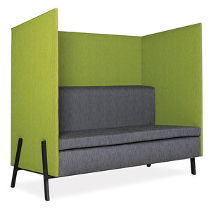 Chatterbox straight private lounge and reception seating with divider in grey and lime from Desk & Chair shop