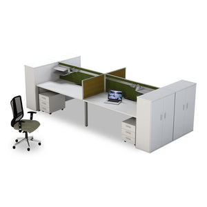Colorado white melamine 4Way Cluster with end cabinets and mobile pedestals from Desk & Chair shop