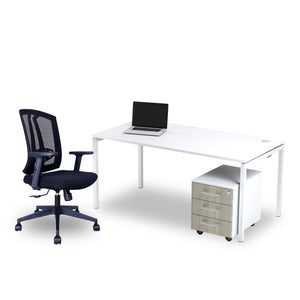 White single desk with white steel frame sold with Mesh Office Chair from Desk & Chair shop