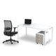 White single desk with white steel legs and ergonomic black office chair from Desk & Chair shop