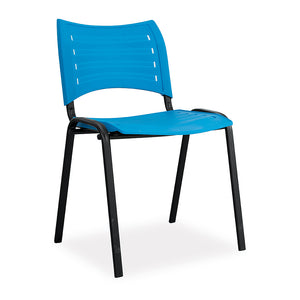 Crew 500 office canteen cafeteria blue plastic chair with black steel frame from Desk & Chair shop