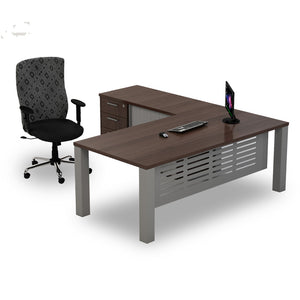 L-shape managers desk in rich brown top and rectangular steel legs with pedenza from Desk & Chair shop