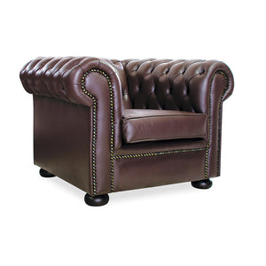 Elizabeth office reception brown bonded leather single chair couch with studs from Desk & Chair shop