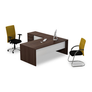 Everest l-shape managerial panel desk with brown melamine top and pedenza and white modesty panel from Desk & Chair shop