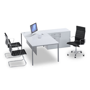 Glacier l-shape managerial desk in white melamine  with silver steel legs and  pedenza from Desk & Chair shop