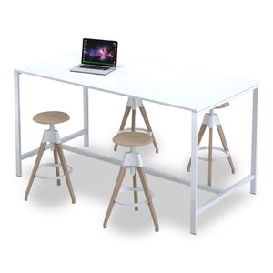Glacier high meeting table in white melamine and white steel legs from Desk & Chair shop