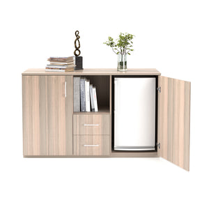 Light coimbra console unit with bar fridge cabinet, 2 doors and 2 drawers and opening from Desk & Chair shop