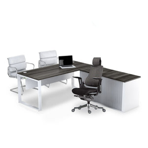 Rich brown l-shape desk with white leg and credenza sold with Wau Ergonomic chair from Desk & Chair shop