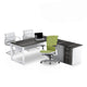 Rich brown l-shape desk with white leg and pedenza sold with lime green ergonomic chair from Desk & Chair shop
