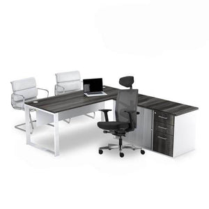 Rich brown l-shape desk with white leg and pedenza sold with Tune black ergonomic chair from Desk & Chair shop