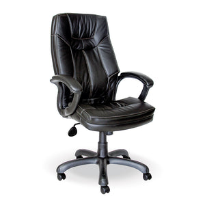 Mustang leather executive office chair with arms and gas lift in black from Desk & Chair shop