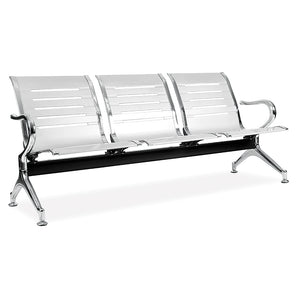 3-seater public seating chairs in silver for reception and waiting areas from Desk & Chair shop