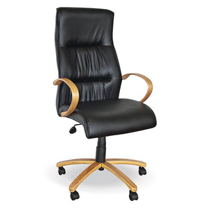 Rio high back bonded leather executive office chair with gas lift and wooden legs and arms from Desk & Chair shop