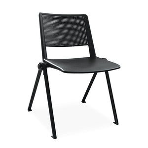 Rise office canteen cafeteria chair in black plastic with perforated back from Desk & Chair shop