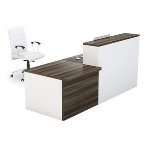 Soneva reception counter in white and rich brown melamine with lower side station from Desk & Chair shop