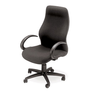 Colonel high back office chair in black fabric with gas lift,arms and wheels from Desk & Chair shop
