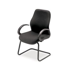 Colonel visitors chair in black fabric with black frame and arms from Desk & Chair shop