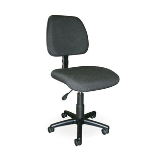 Langkawi typist office chair for receptionist, black fabric, no arms, wheels and gas lift from Desk & Chair shop