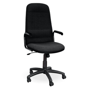Montreal high back office chair in black fabric with arms and wheel from Desk & Chair shop