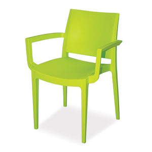 Sylvester office canteen cafeteria dining chair in bright colour plastic with arms and backrest from Desk & Chair shop