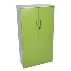 2 Door systems cupboard with lime doors and white carcass for files from Desk & Chair shop