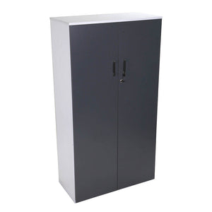 2 Door systems cupboard with storm grey doors and white carcass for files from Desk & Chair shop