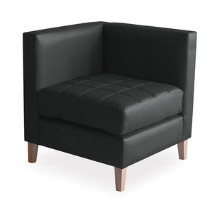 Vancouver office reception corner seating lounge chair in black bonded leather and wooden legs from Desk & Chair shop