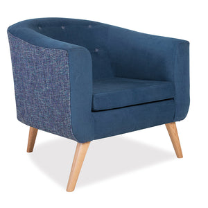 York office reception single seater lounge chair/couch in blue fabric and wooden legs from Desk & Chair shop