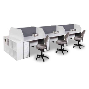 Axis 6Way office cluster desk workstation in white with screens, pinboards and desk high pedestals from Desk & Chair shop