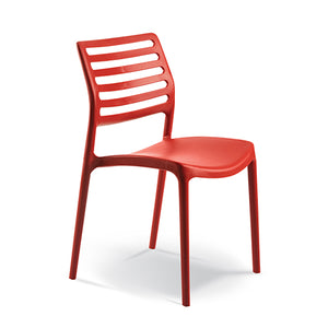 Red plastic canteen cafeteria chair from Desk & Chair shop
