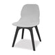 Modern white plastic canteen dining chair with black legs and no arms from Desk & Chair shop