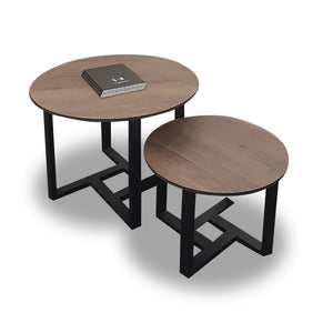 Modern Sahara round coffee tables with wood melamine top and black steel frame from Desk & Chair shop