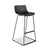 Sleek black bar stool with plastic shell and black steel square legs, no arms from Desk & Chair shop