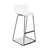 Sleek white bar stool with plastic shell and black steel square legs, no arms from Desk & Chair shop