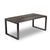 Smart bench coffee table with black loop steel frame and rich brown melamine top from Desk & Chair shop