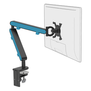 Z1 small computer monitor arm in black with blue cap from Desk & Chair shop