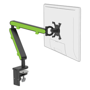 Z1 small computer monitor arm in black with green cap from Desk & Chair shop