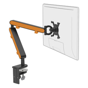 Z1 small computer monitor arm in black with orange cap from Desk & Chair shop